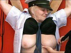 Chained up granny sub fondled all round dungeon