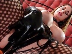 Naughty Cathy Heaven masturbates in latex gloves