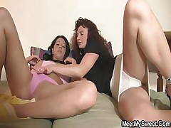 Mummy seduces her son\'s GF for 3 way